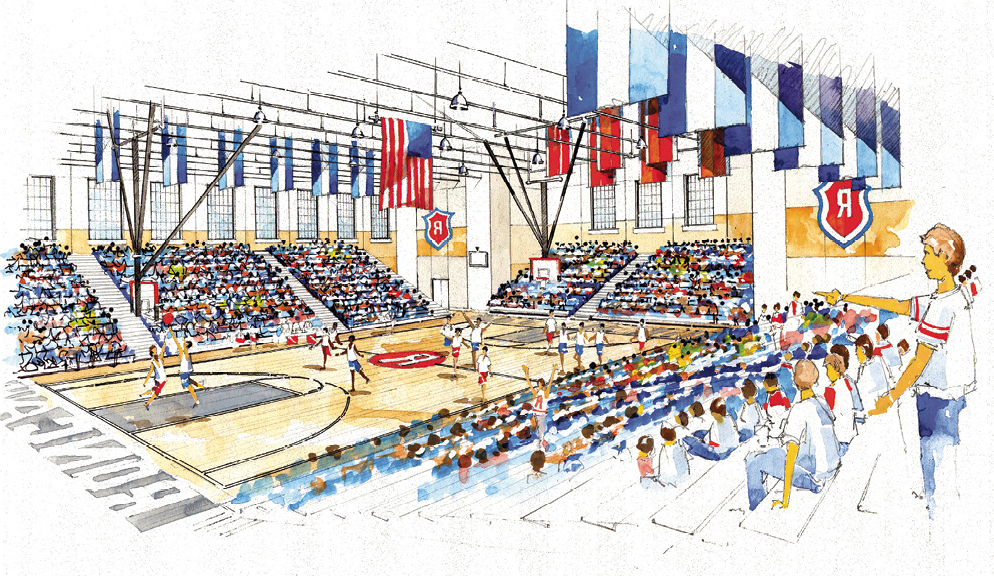 Rendering of the inside of the new gymnasium of students playing a basketball game